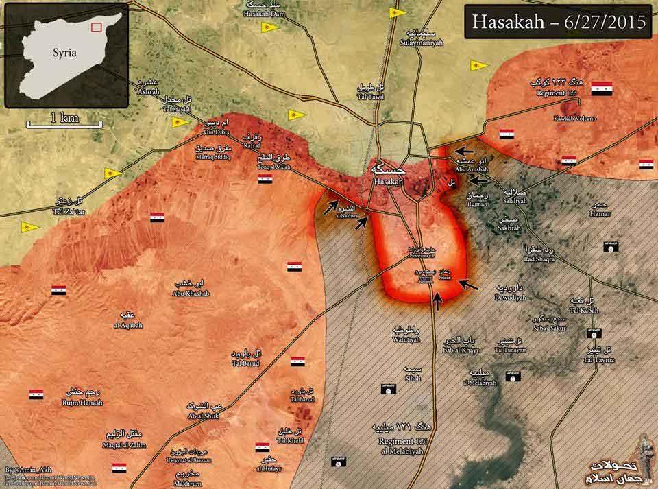 Карта Хасаки, примерное расположение сторон