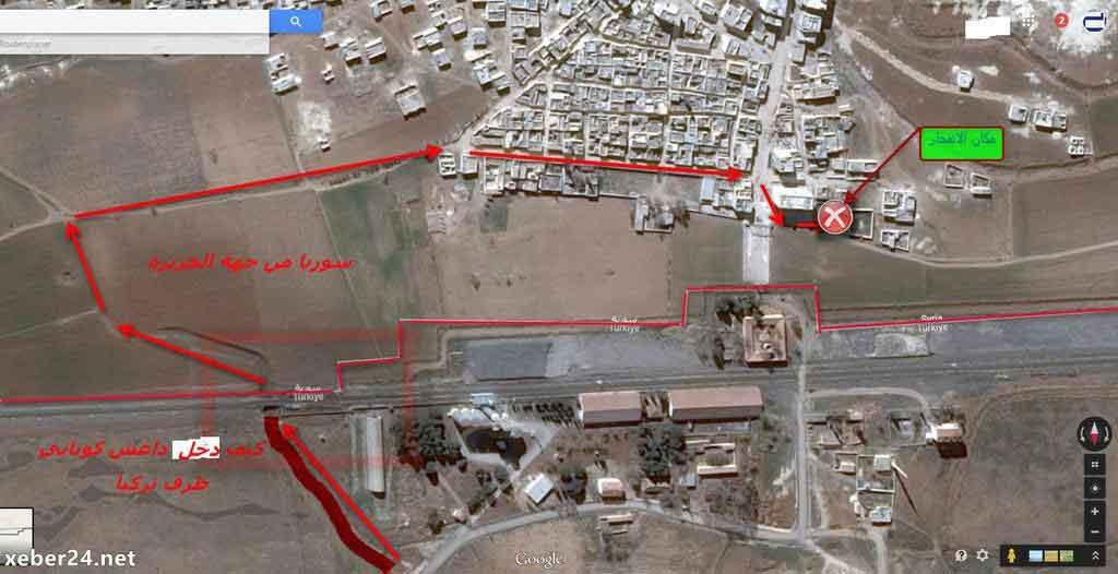 Примерный маршрут движение пикапов со взрывчаткой, Кобани