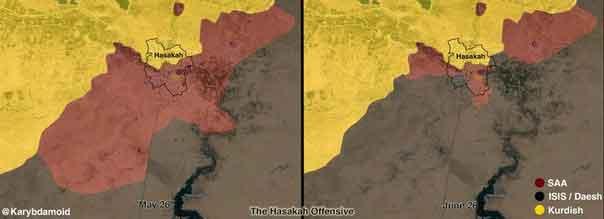Положение в Хасаке, до и после наступление ИГИЛ