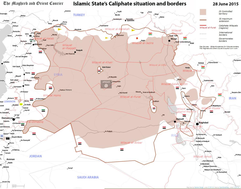 Подробная карта квазигосударственного образования Исламское государство, на территории Сирии и Ирана