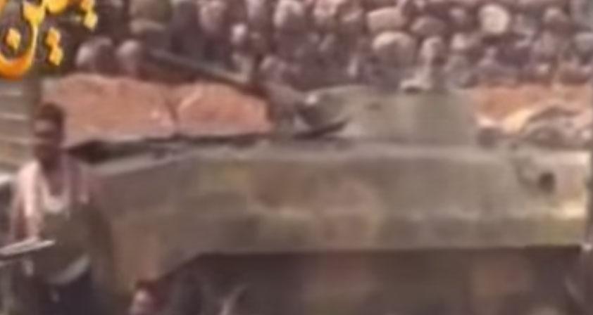 Трофеи повстанцев после захвата базы 52-й бригады в Дараа