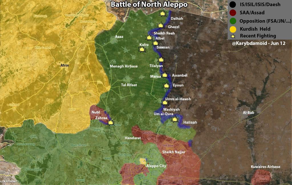 Северней Алеппо идет наступление повстанцев против ИГИЛ