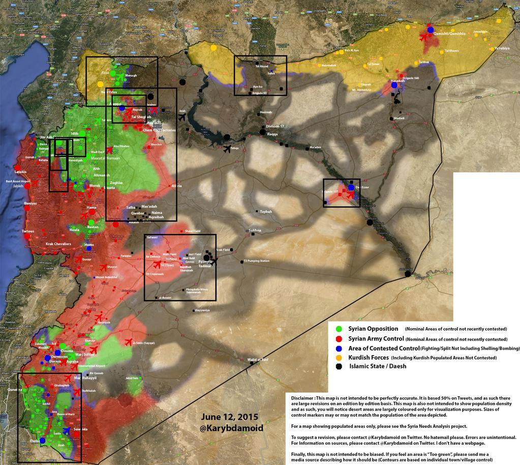 Карта примерного место столкновения противоборствующих сил в Сирии 12.06.2015