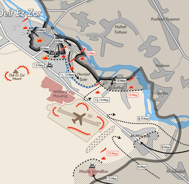 Карта боев за город Дейр-эз-Зор