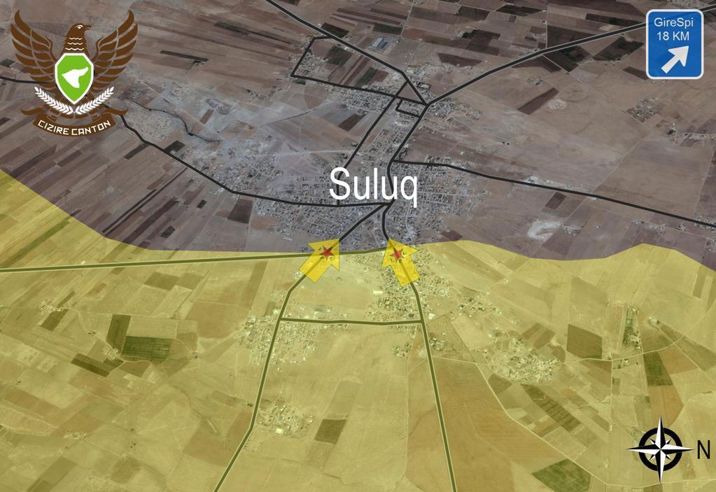Карта боев курдов и ИГИЛ в Сирии, наступление курдов на Сулук