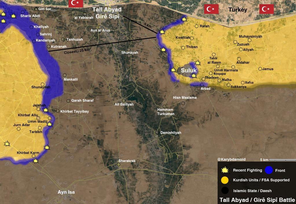 Курды окружили Сулук и на подступах к Tal Abayd ОБЩАЯ КАРТИНА