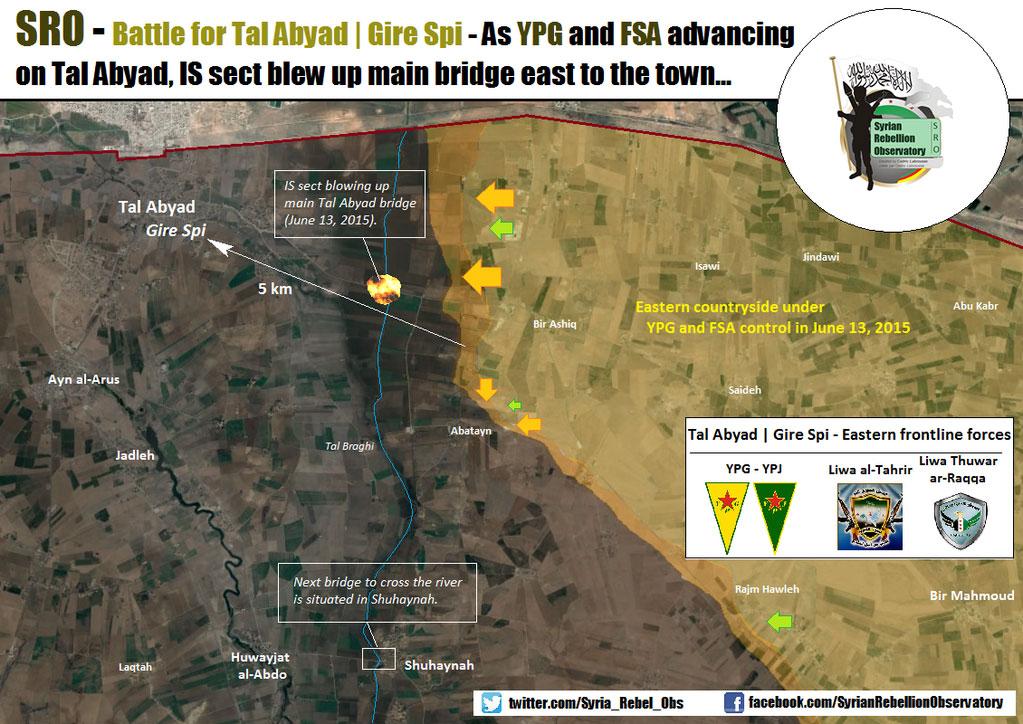 Чтобы сдержать наступление на Tal Abyad, ИГИЛ взорвал ключевой мост