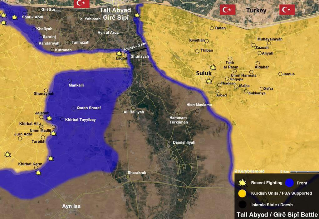 Оптимистичная карта: наступление курдов на Tal Abyad (ИГИЛ почти окружены)
