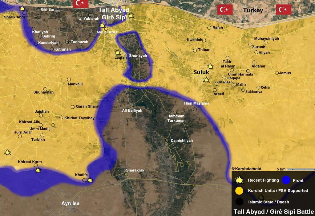 ИГИЛ в Tal Abyad окружена силами курдов