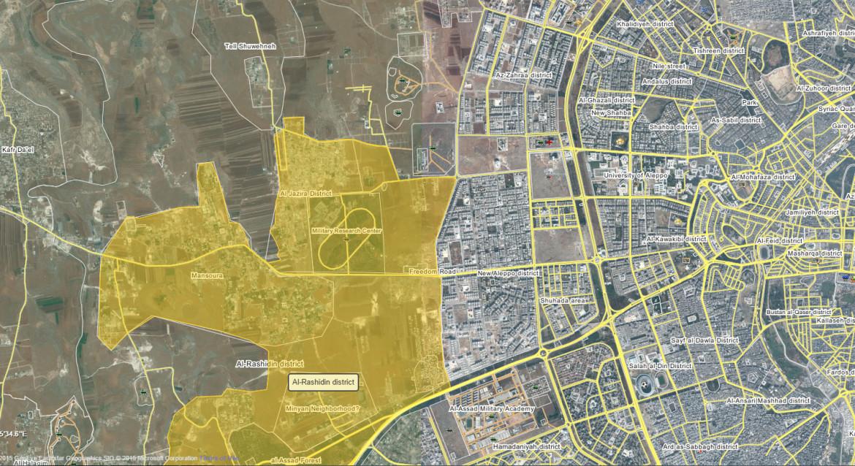Карта 2 Вторая версия, захваченный оппозицией район Алеппо