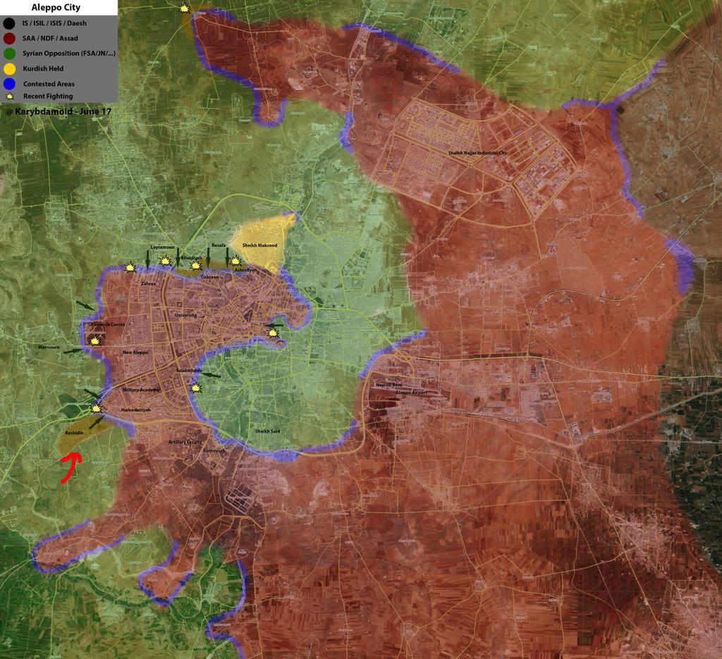 Карта 1 Захваченный оппозицией район Алеппо