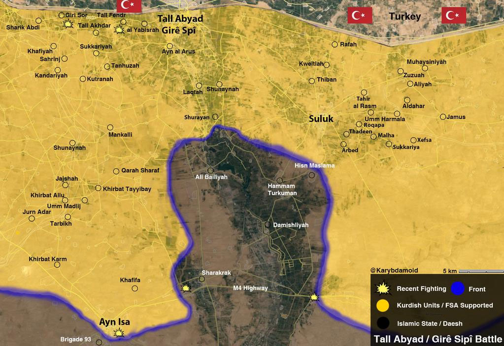 Новая карта боев в Тель Абъяд