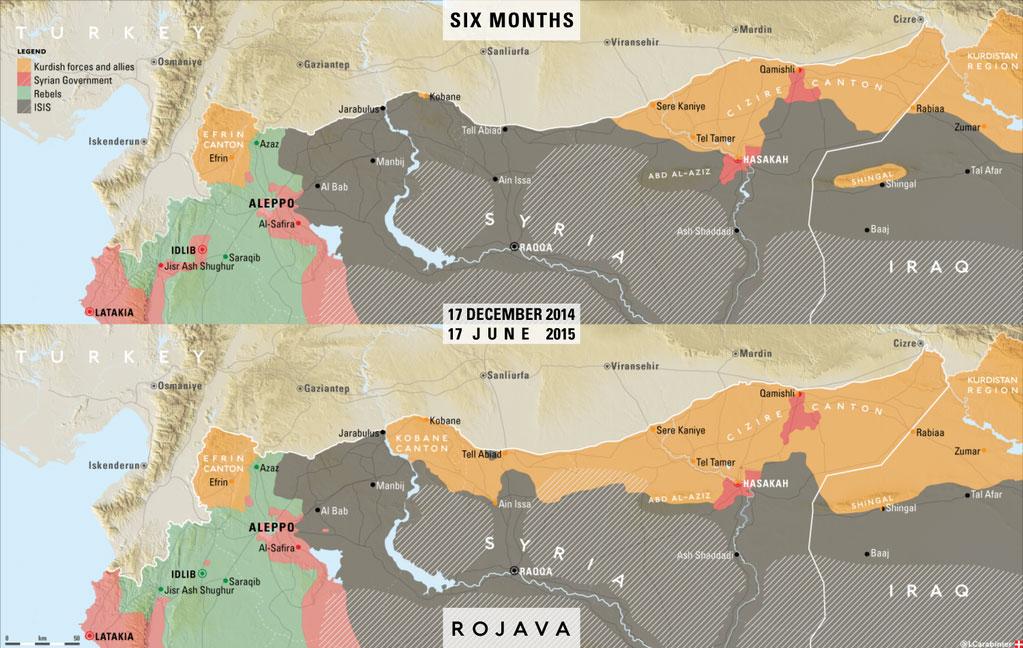 Карта успехов курдов за 6 месяцев боев