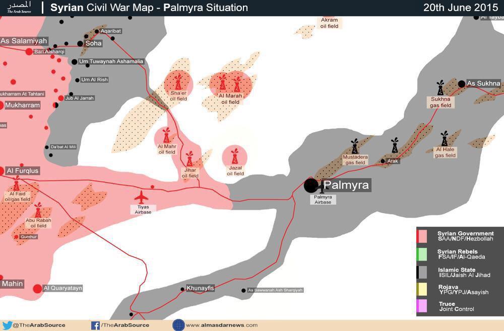Ситуация в районе Пальмира (Сирия) ИГИЛ продолжает свою нефтяную экспансию