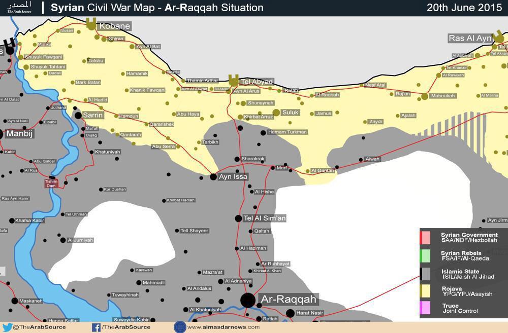 Ситуация на курдских территориях (Сирия) на 21.06.2015