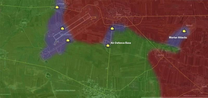 Есть примерная карта боев за авиабазу al-Tha'lah