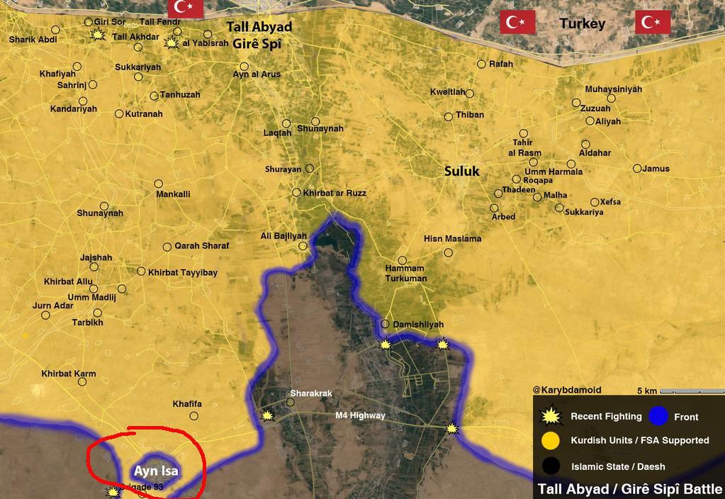 Наступление курдов продолжается, цель Ayn Isa
