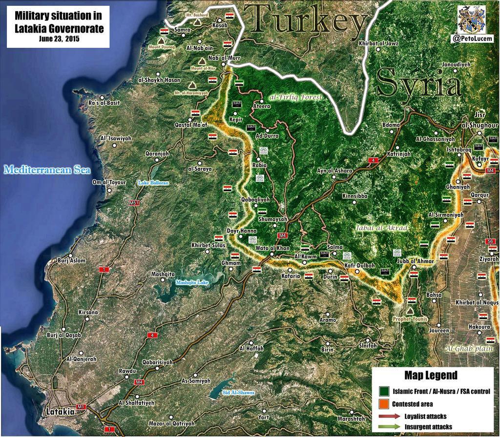 Провинция Латакия, Сирия, расстановка сил по состоянию на 24.06.2015