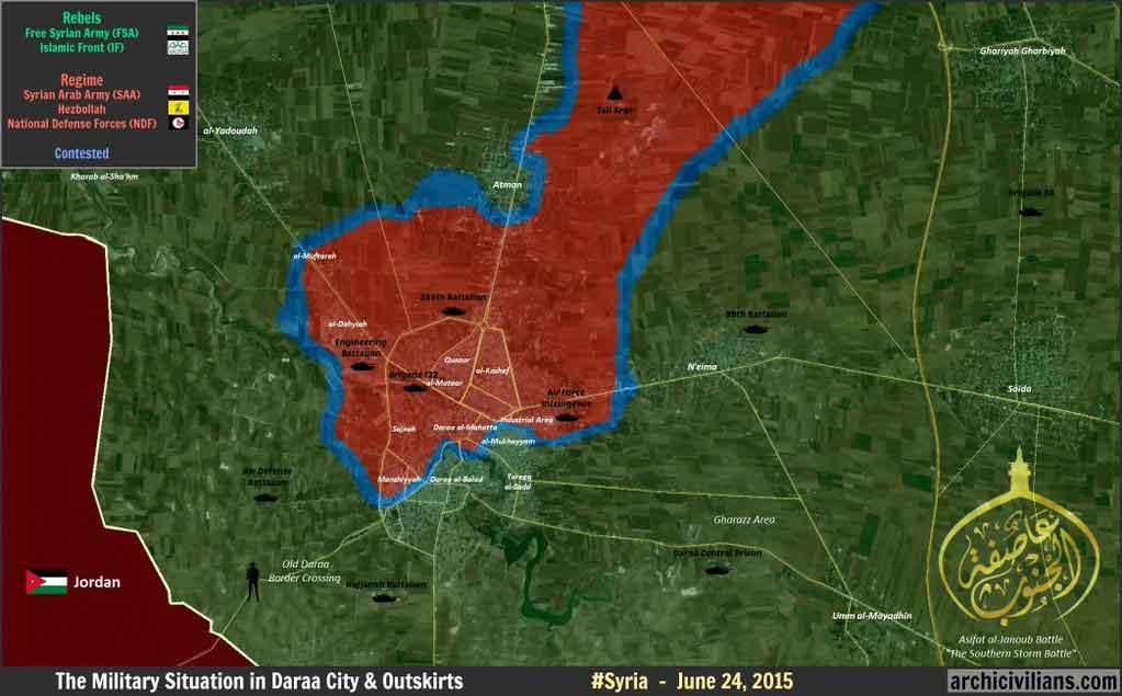 Предполагаемый район наступления оппозиции в Дараа