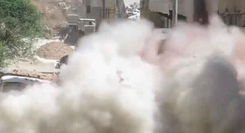 Алеппо, пуск газо-баллонной ракеты огромной мощности (50 л баллон)
