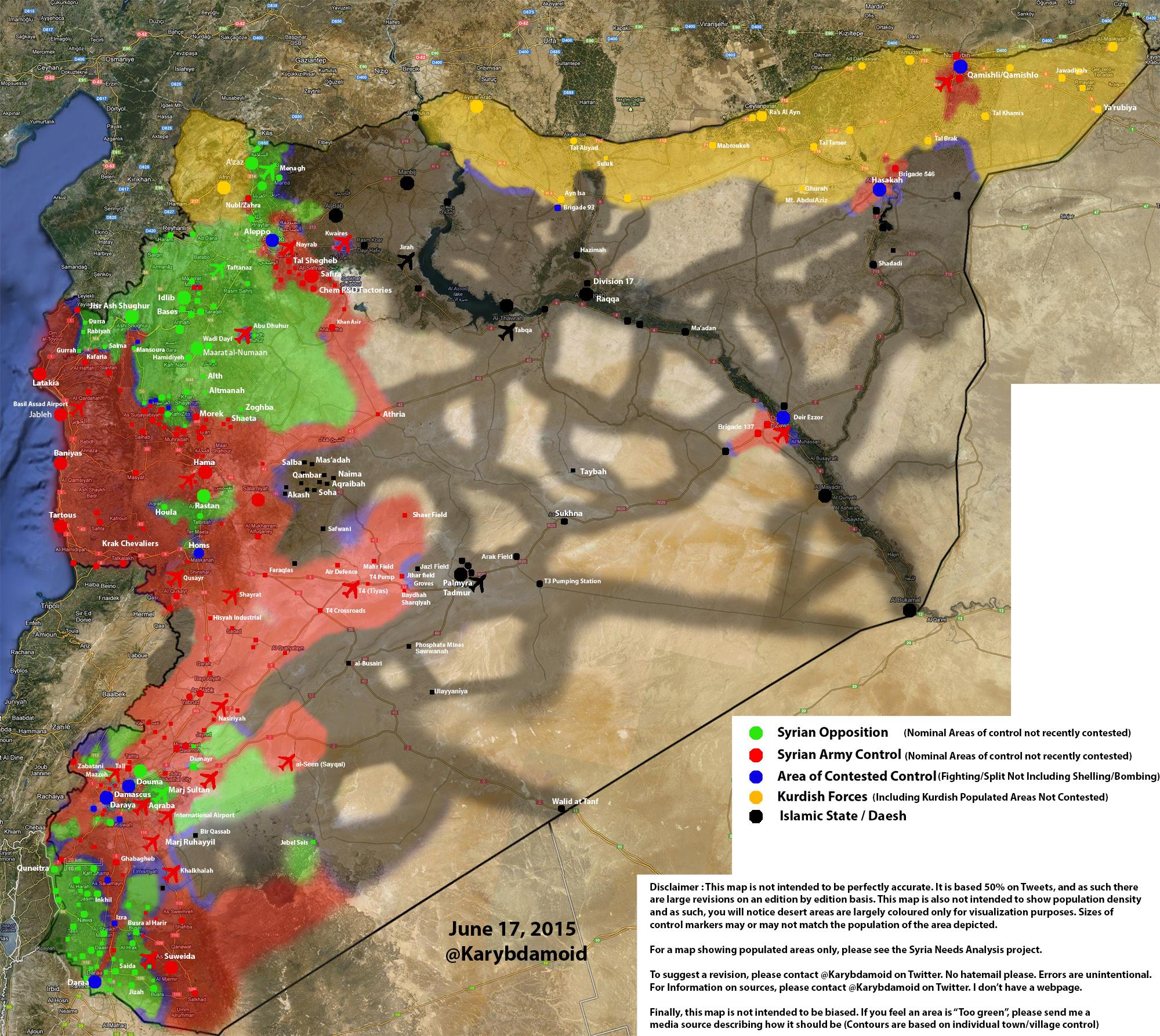Новая карта расположения сторон Сирийская война 20.06.2015