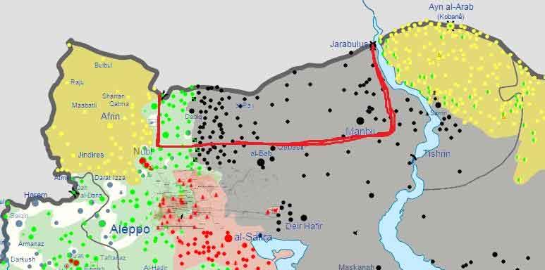 Вариант буферной зону, которую могут создать Турки в Сирии