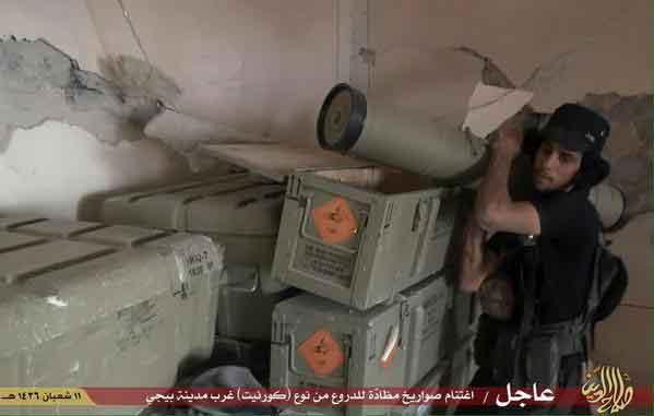 """После захвата одного из складов в районе города Байджи, Ирак, у ИГИЛ появился свой арсенал ПТРК """"Корнет-Э""""."""