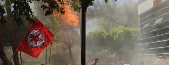 Взрыв на территории курдскими культурного центра в г. Сурук, Турции