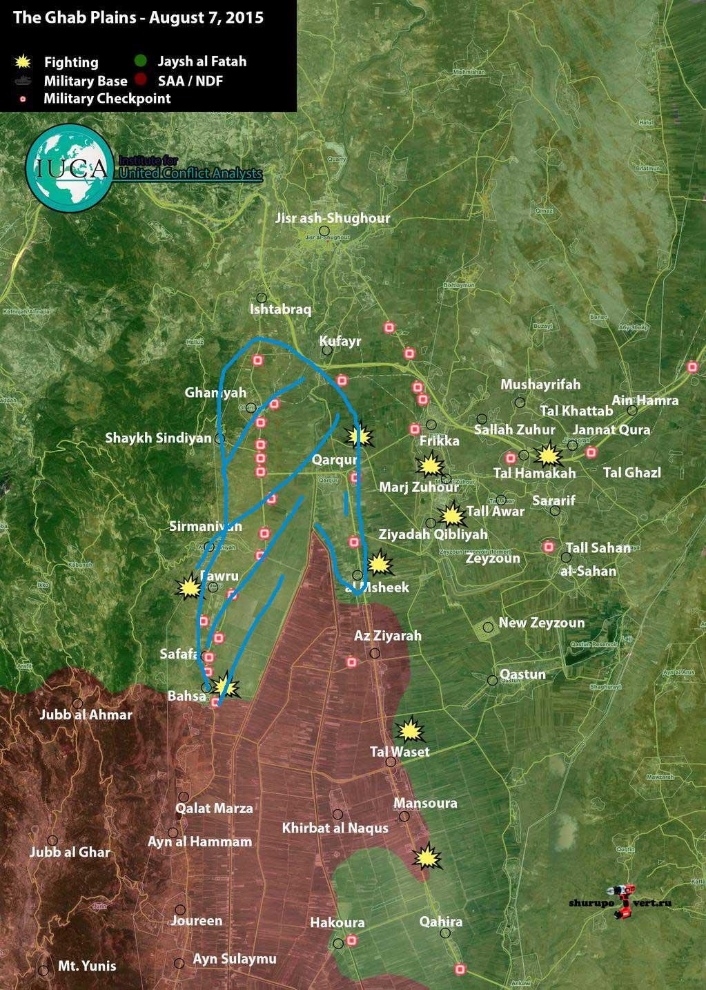 Карта ситуации в провинции Идлиб, на 07.08.2015