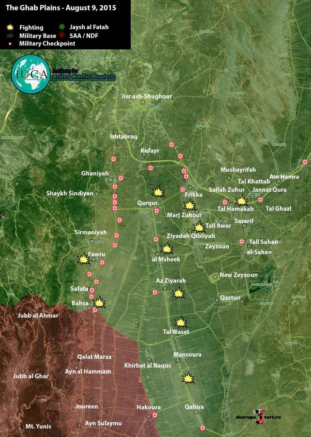 Последняя карта захваченных территорий в результате атаки оппозиции в провинции Идлиб\Хомс