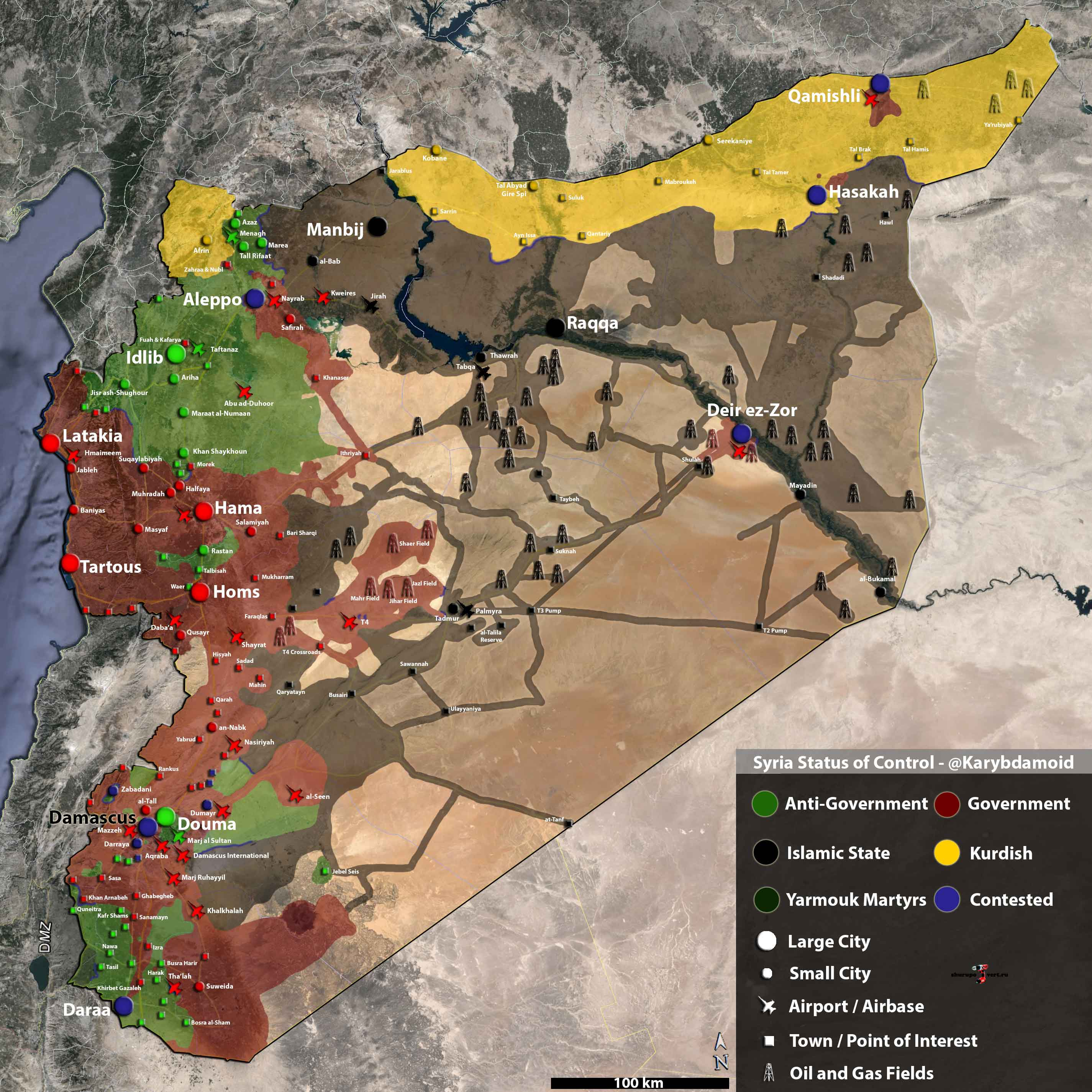 Подробна карта расположения сторон Сирийского конфликта по состоянию на 09.08.2015 года