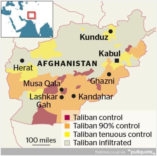 Территория контролируемая движением Талабан в Афганистане, по состоянию на август 2015