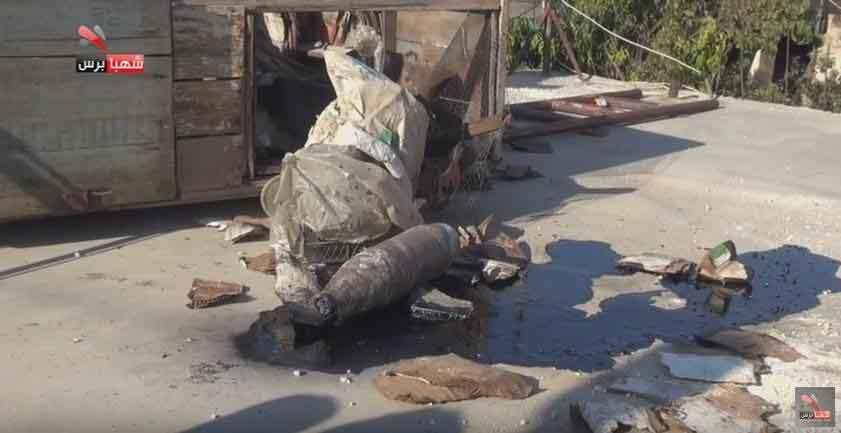 Химический снаряд ИГИЛ с рассеявшейся жидкостью, Сирия