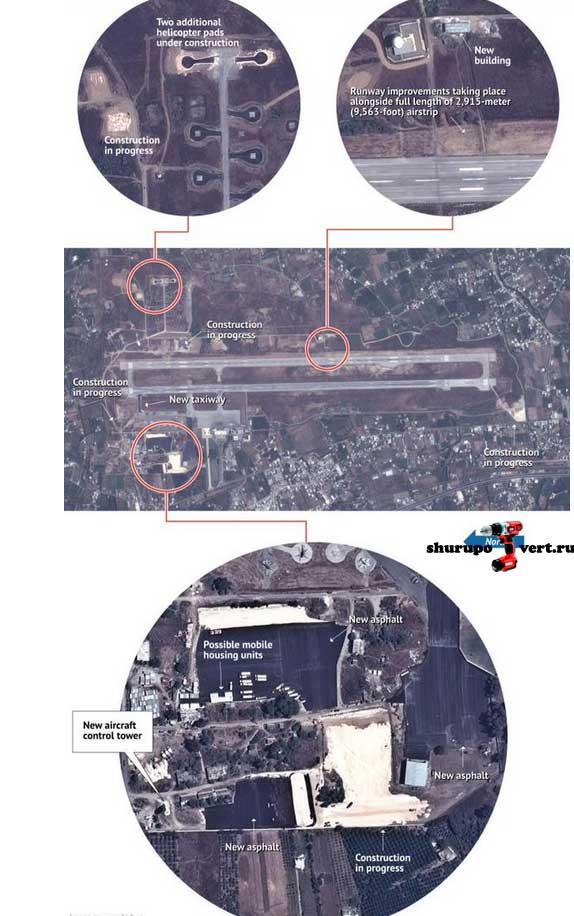 Россия все сильней втягиваются в войну в Сирии: в Латакии расширяют взлётную полосу, строят новые ангары