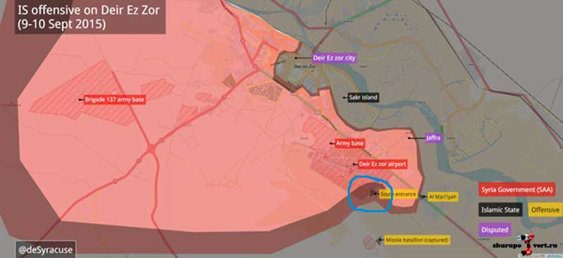 Расположение сторон после атаки ИГИЛ на базу Асада - Deir Ezzor Military Airport (военную аэродром)
