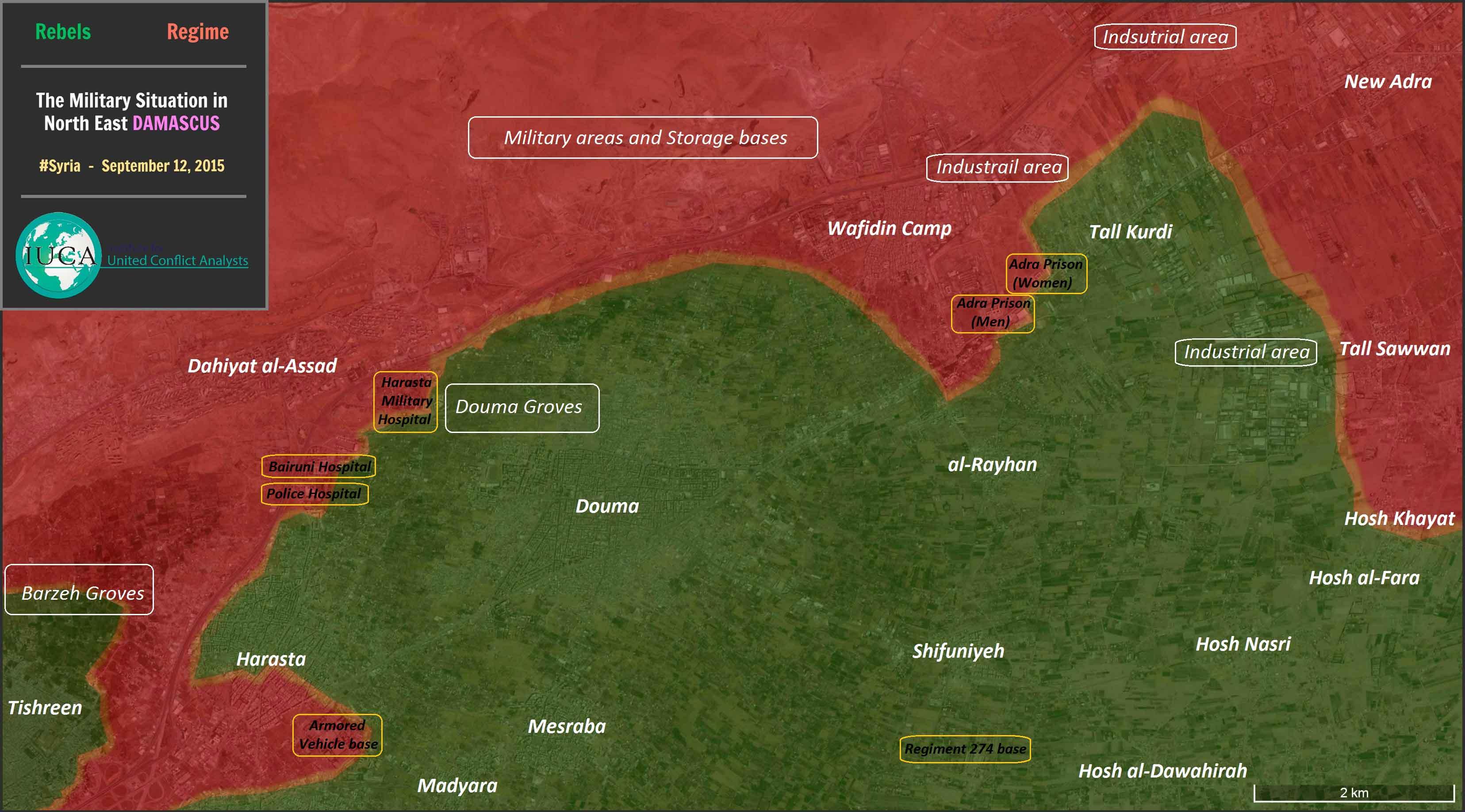 Подробная карта пригорода Дамаска, где разворачиваются события, с указанием контроля территории