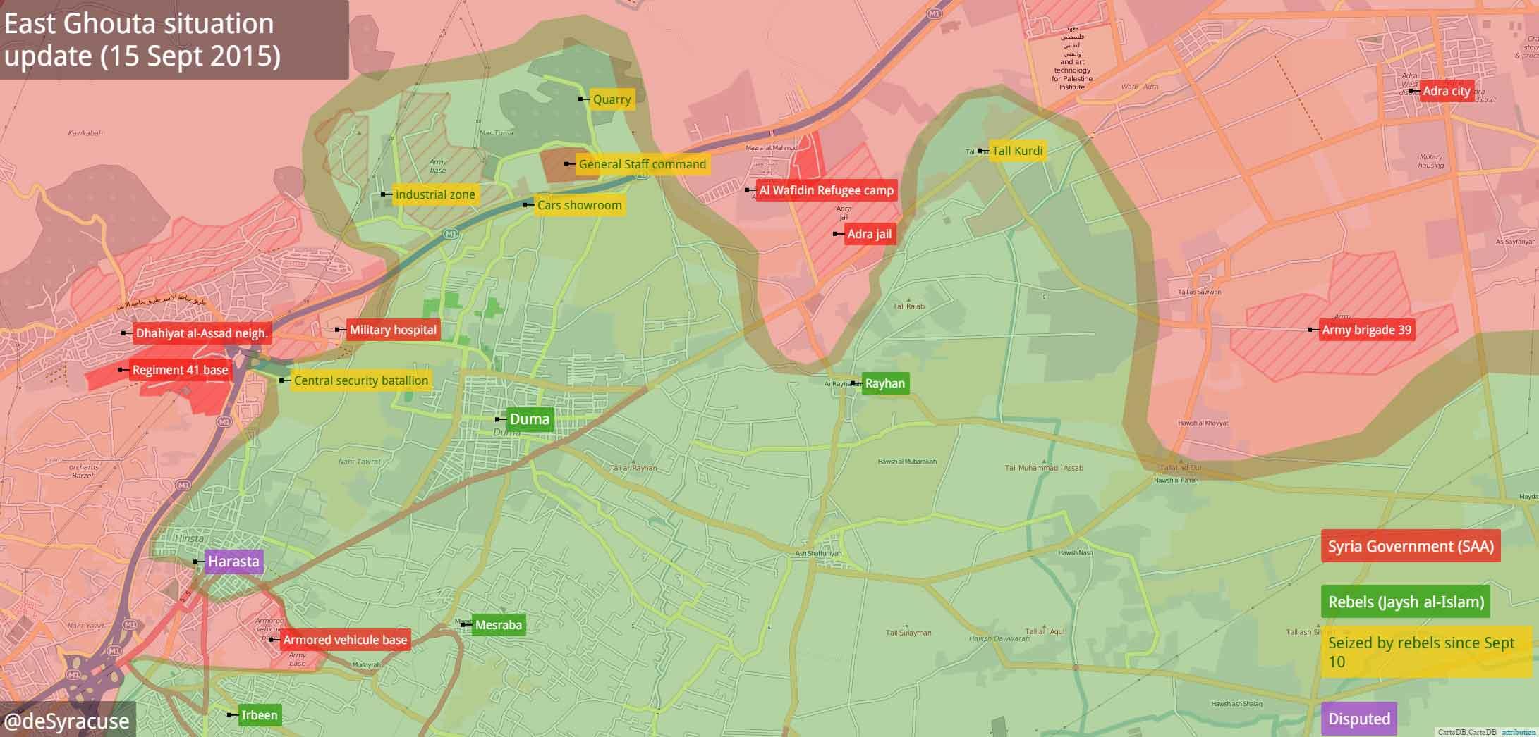 Карта - результат наступления оппозиции в Восточной Гута, пригороде Дамаска