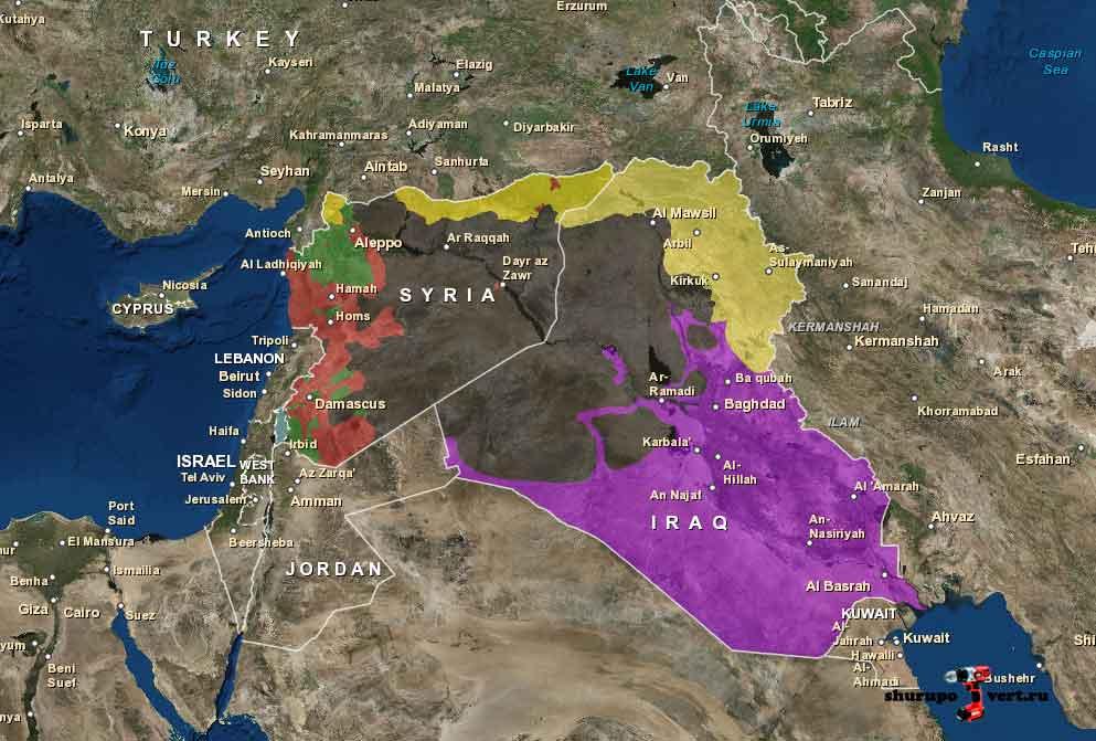 Ссылка на интерактивную карту расположения сторон в Сирии и Ираке