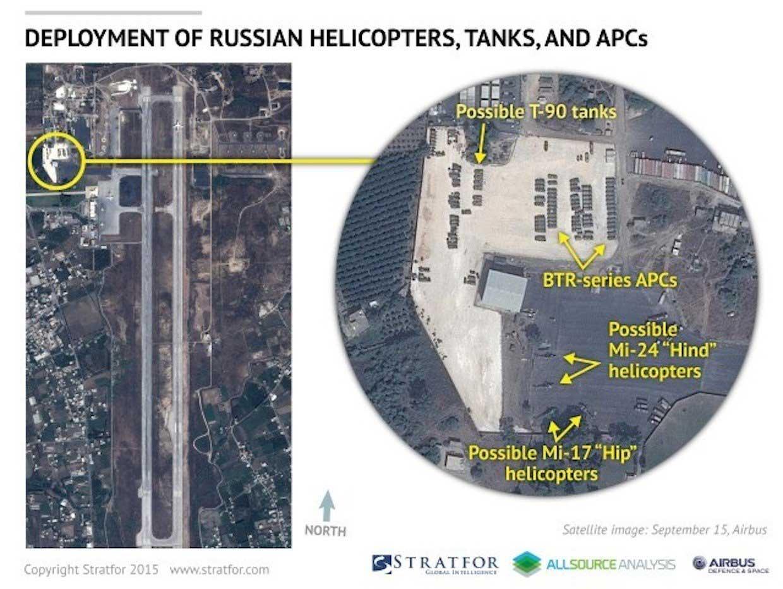 На фото место дислокации военной техники, возможно именно тут находиться новые российские танки, БТРы и вертолеты для Асада (Bassel al Assad, провинции Латакия)