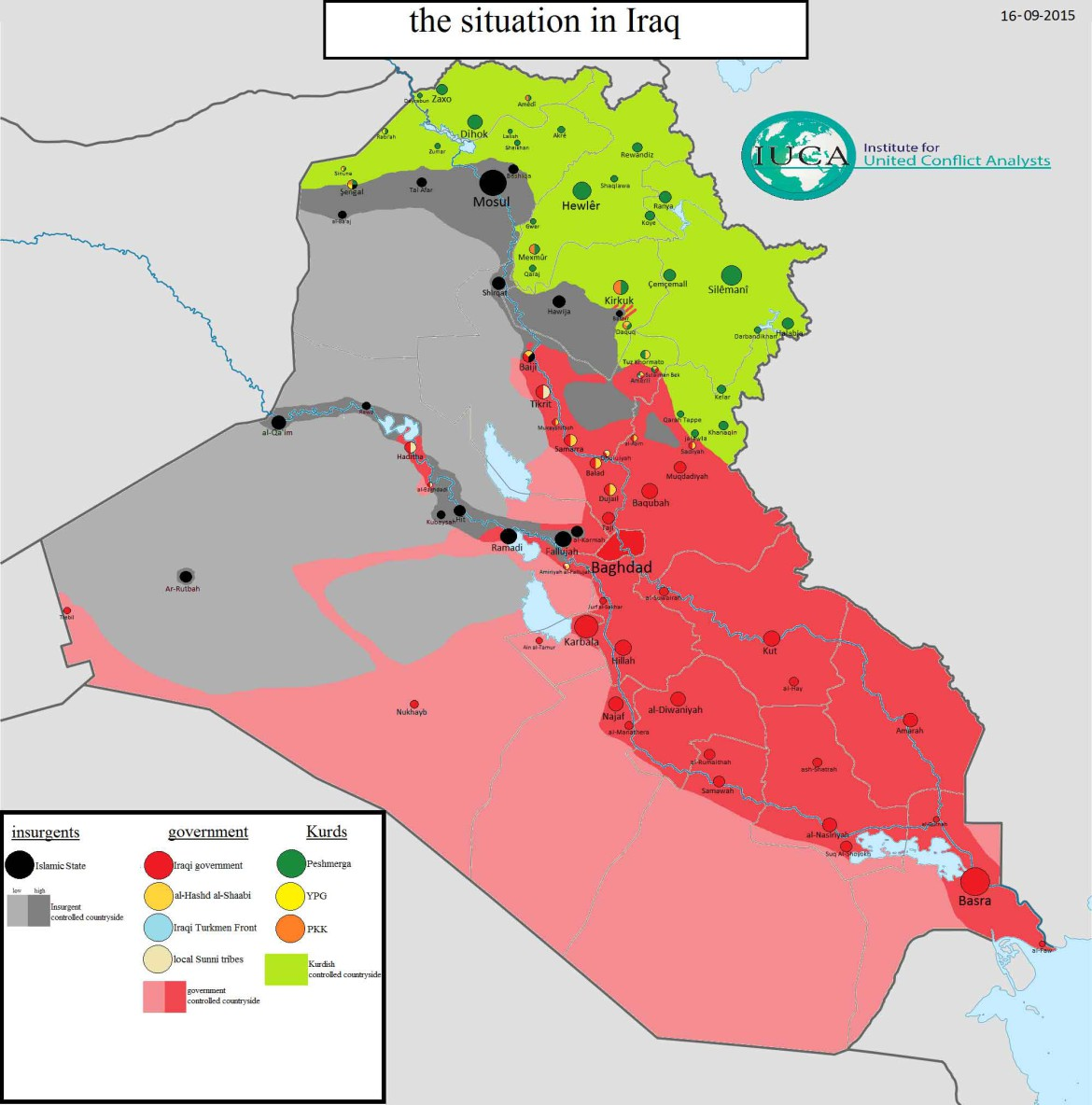 Карта расположения сторон в Ираке: ИГИЛ, курды, правительство, шиитские формирования и пр