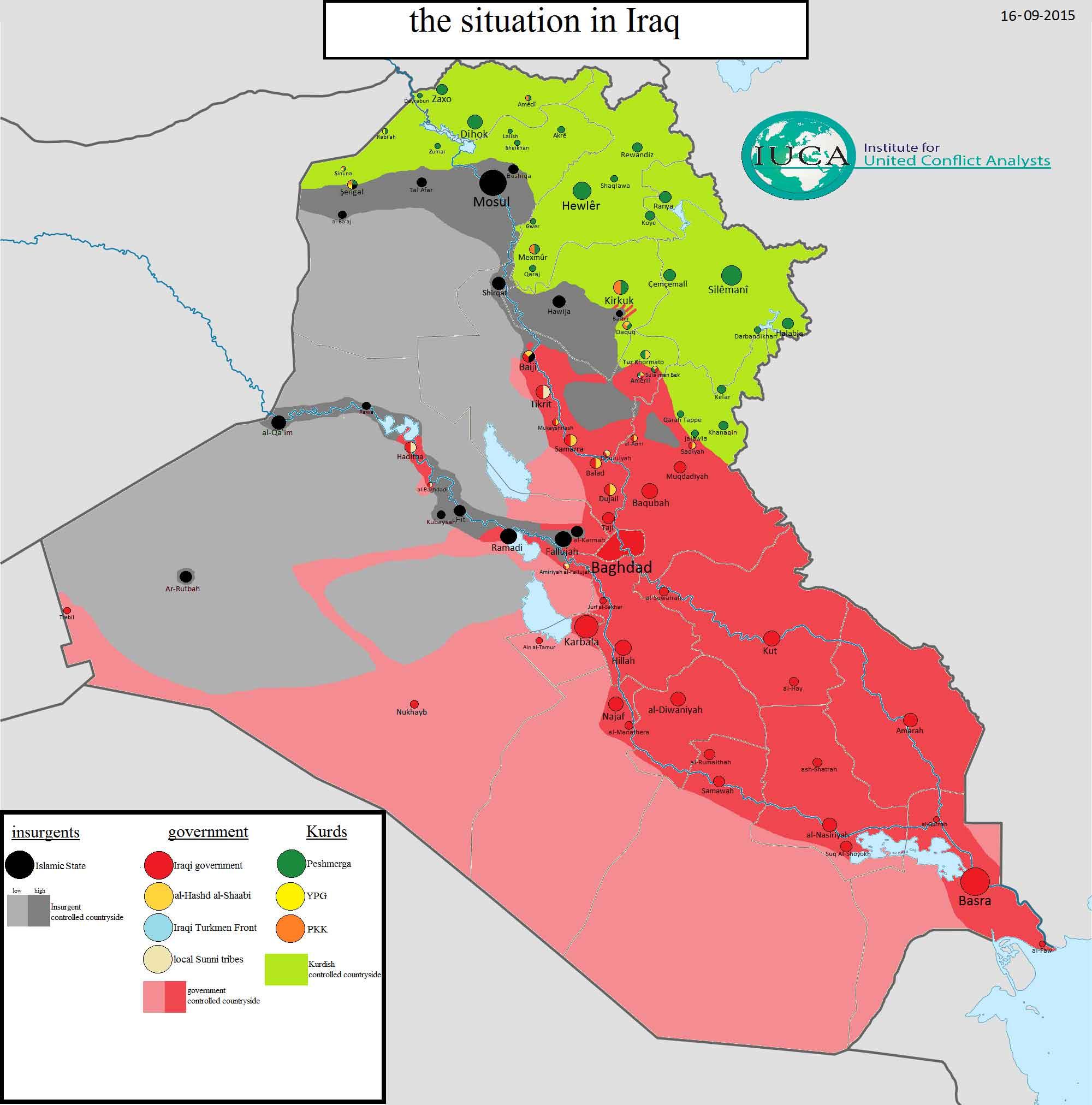 Смотреть, в большом разрешении - Карта расположения сторон в Ираке: ИГИЛ, курды, правительство, шиитские формирования и пр