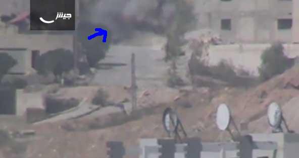 В пригороде Дамаска был обстрелян из ПТРК танк режима Асада