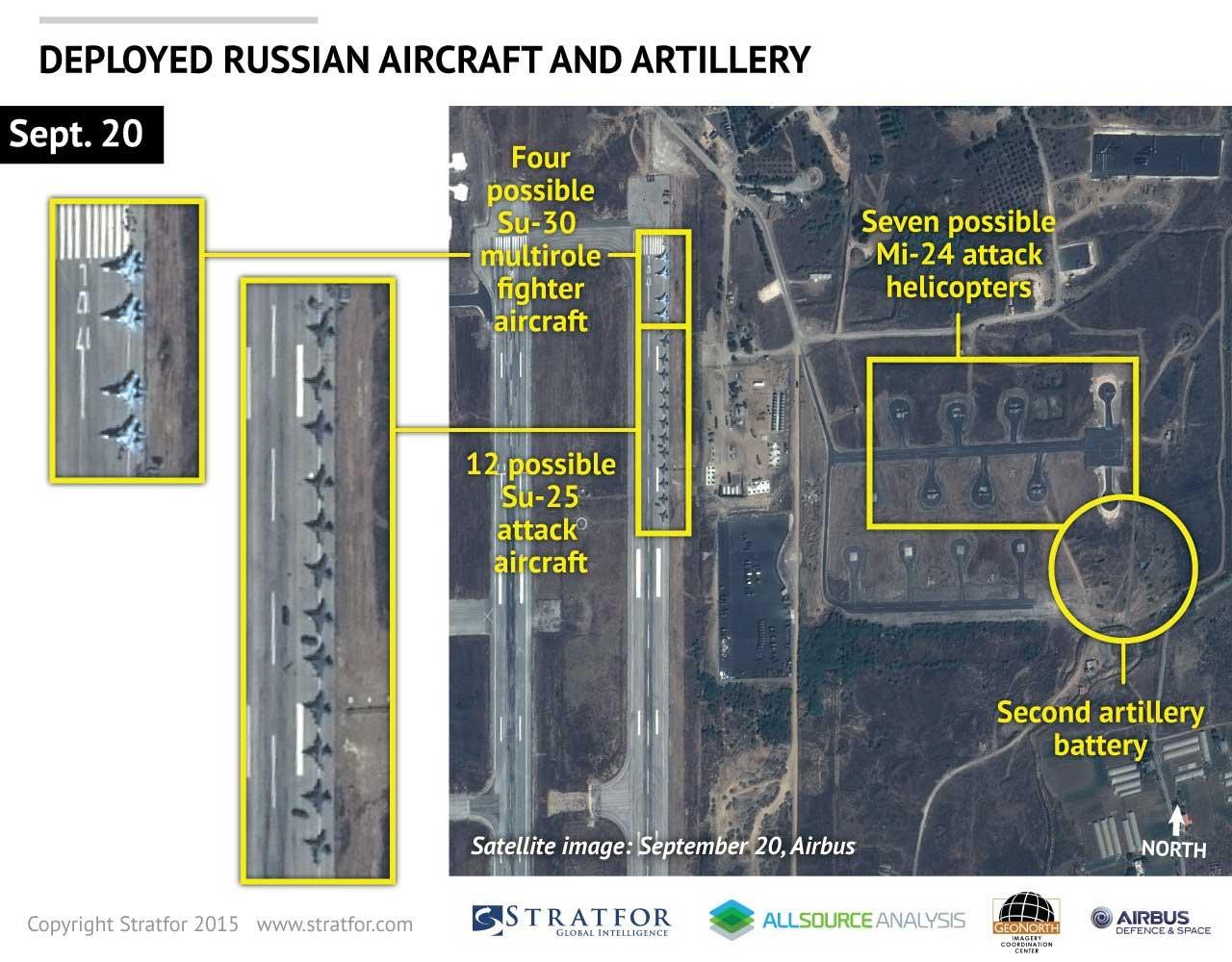 Российская авиация в Сирии на спутниковых фотографиях