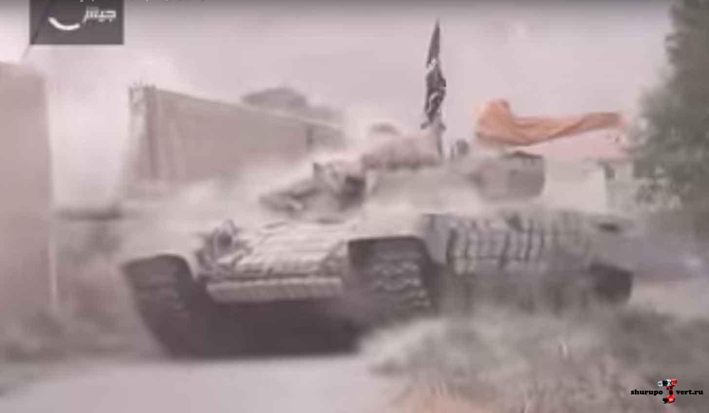 Танк оппозиции во время боев в Восточной Гута, пригороде Дамаска, Сирия