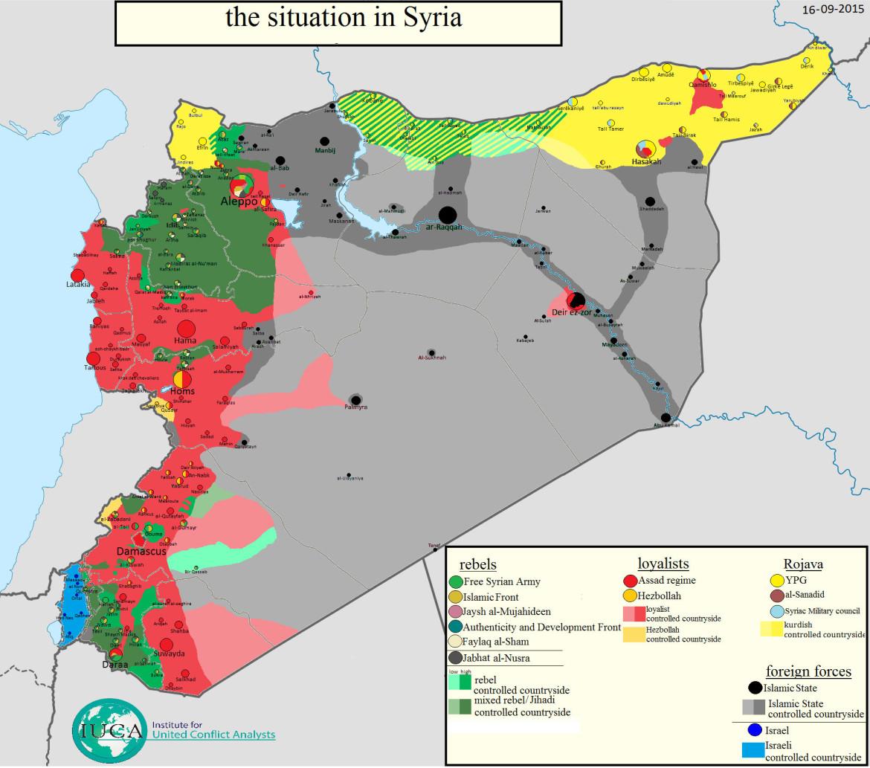 Карта расположения сторон в Сирии: ИГИЛ, оппозиция, Асадисты, курды по состоянию на 16.09.2015
