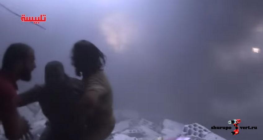 Результат бомбардировки города Talbisa, провинция Хомс, Сирия