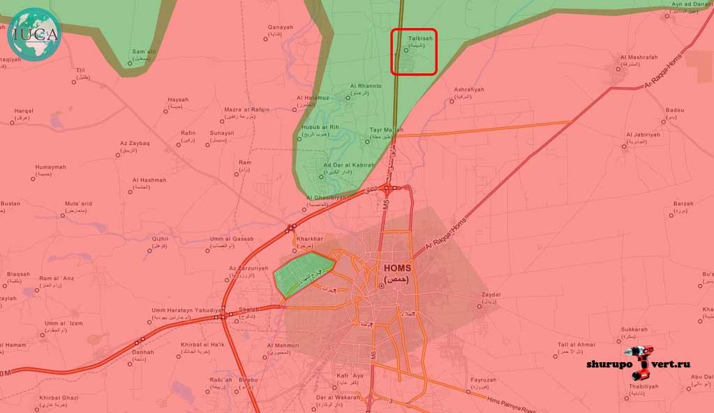 """Место основного удара """"неизвестной авиации"""" в провинции Хомс, Сирия (зеленое -оппозиция, красные -Асадисты)"""