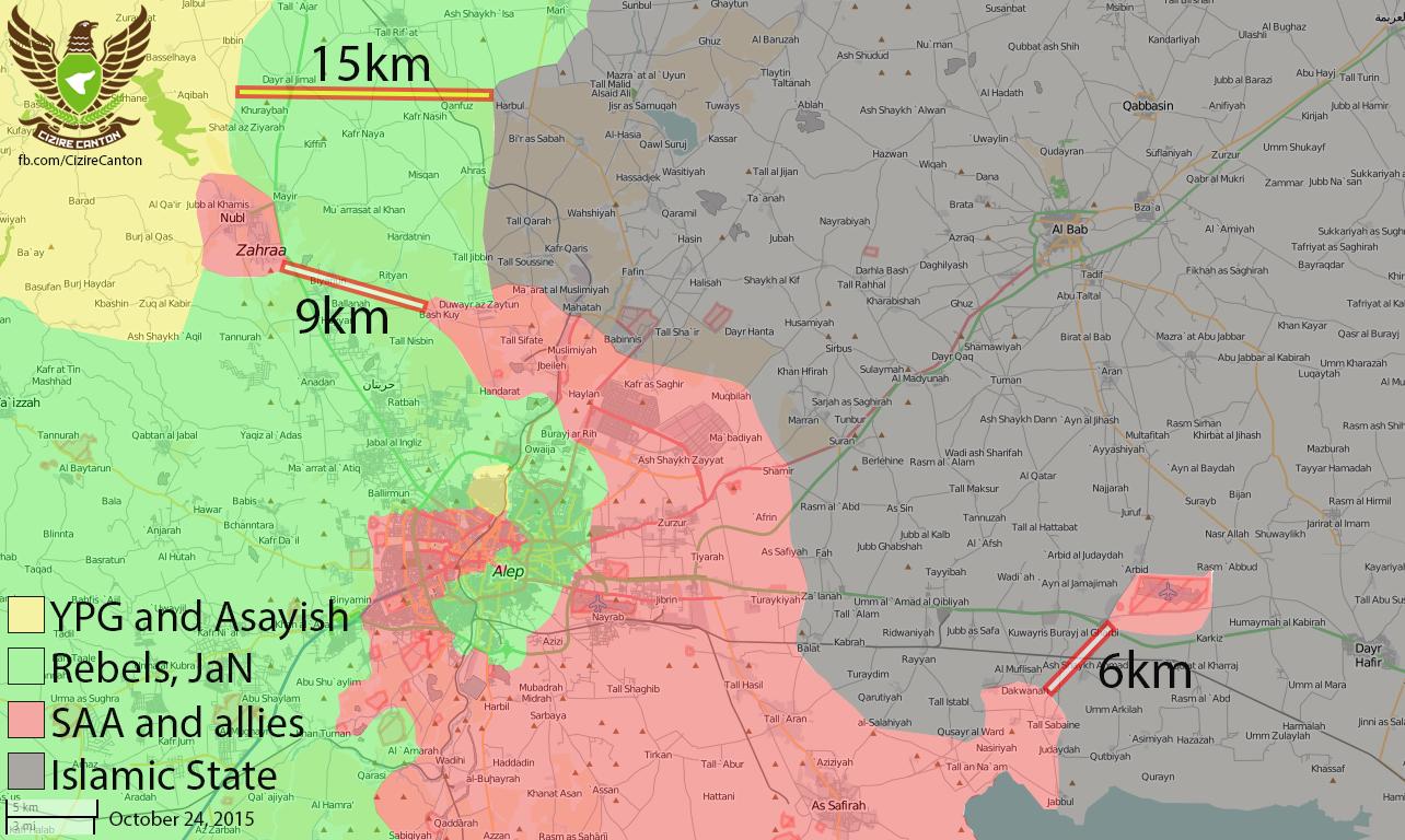 Положение сторон сирийского конфликта в Алеппо (ИГИЛ, Асад, Оппозиция, Курды)