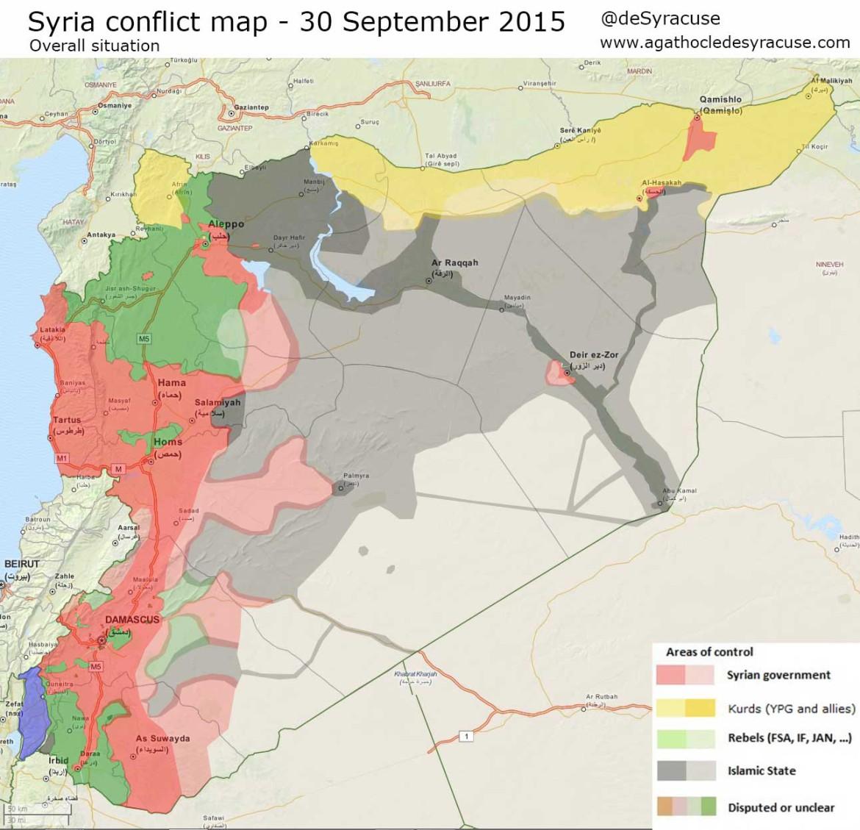 Карта расстановки сил в Сирии: ИГИЛ, оппозиция, Асадисты, курды по состоянию на 30 сентября 2015 года
