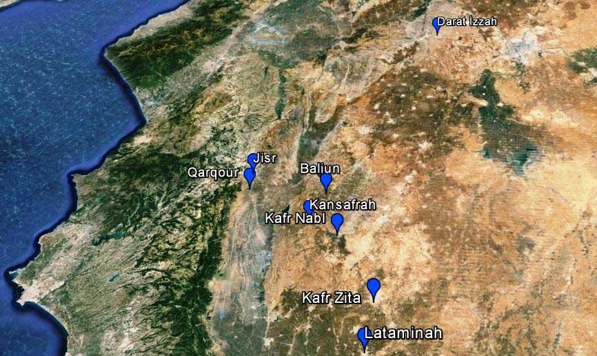 Места основных ударов авиации России в Сирии